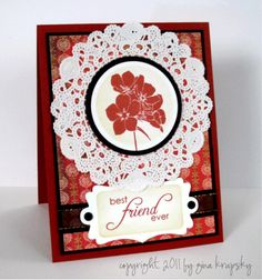Doily Card - stampTV by Gina K. See It, do it, http://stamptv.ning.com/video/doily-card