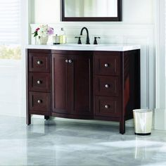 Home Decorators Collection Madeline 48 in. Vanity in Chestnut with Alpine Vanity top in White