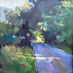 Rural Landscape Paintings Daily Paintings Small Oil Paintings Country Roads by Carol Schiff 6x6x1.5 Oil Original, painting by artist Carol Schiff