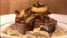 Venison with a rich brandy and porcini mushroom sauce