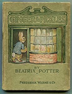 "illustration UK : couverture de livre ""Ginger & Pickles"", Beatrix Potter, 1909, lapin, boutique"