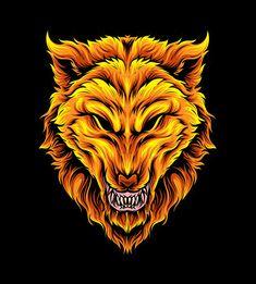 Golden wolf vector | Premium Vector #Freepik #vector #hand #animal #hand-drawn #art Alfabeto Animal, Wolf Illustration, Art Studios, Teen Wolf, Mammals, Vector Free, Digital Art, Lion Sculpture, Neon