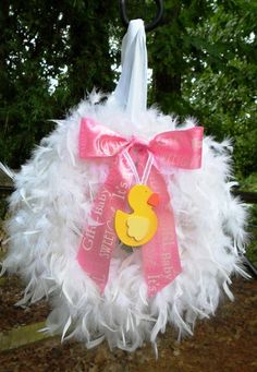 New item! Baby Girl Feather Wreath with cute ducky!!