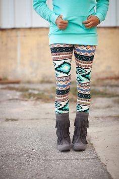 Mint Aztec Leggings - My Sisters Closet $10