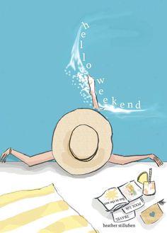 Items similar to Pool Wall Art - Beach House Art Digital Art Print - Pool - tropical - Print on Etsy - illustrations Hello Weekend, Happy Weekend, Bonjour Week-end, Illustrations, Illustration Art, Rose Hill Designs, Plage Art Mural, Beach Wall Art, Summer Fun