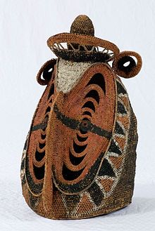An Abelam yam harvest ceremony spirit mask (baba) in the permanent collection of The Children's Museum of Indianapolis