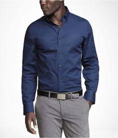 Express Mens Fitted 1Mx Buttondown Collar Shirt Marine, Large