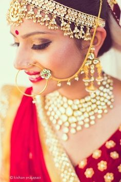 Bridal Noserings - Gold Nath | WedMeGood | Gold Nse Ring with Kundan and Ruby Stones and Meenakari Work; Gold Mathapatti with Ghungroo Beads #wedmegood #mathapatti #gold #nosering