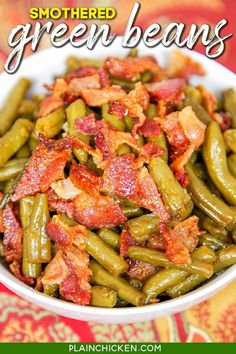 Smothered Green Beans - canned green beans baked in bacon, brown sugar, butter, soy sauce, and garlic. This is the most requested green bean recipe in our house. Everybody gets seconds. SO good!! Great for a potluck. Everyone asks for the recipe! Super easy to make. Baked Green Beans, Can Green Beans, Baked Beans, Side Dish Recipes, Vegetable Recipes, Recipes Dinner, Chicken Recipes, Dishes Recipes, Side Dishes