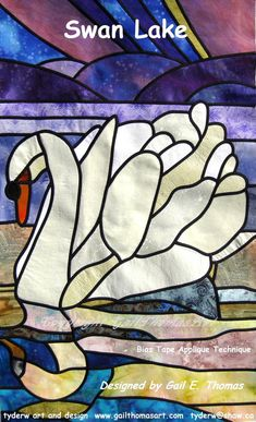 "Stain Glass Quilt Pattern ""Swan Lake""...this would make an awesome quilt for a little girl...."
