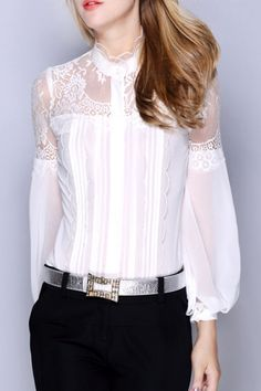 See-Through Lace Spliced Blouse