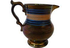 Striped Copper Lusterware Pitcher on OneKingsLane.com