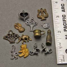 13 Vintage Metal Mixed Charms Pendants by oscarcrow on Etsy