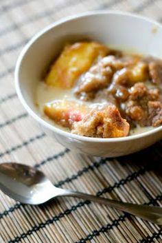 peach crisp with maple cream sauce.