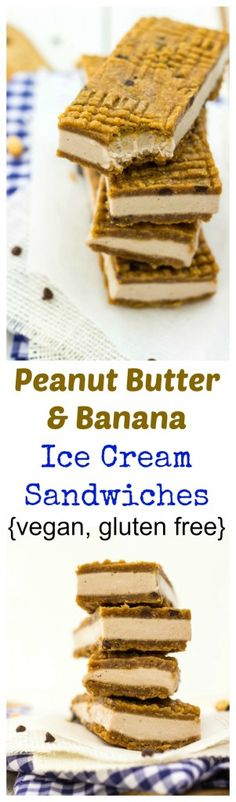 Peanut Butter & Banana Ice Cream Sandwiches.  These delicious ice cream sandwiches are both VEGAN and GLUTEN FREE and so good!