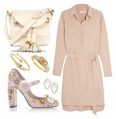 """""""Pink + Playful"""" by cherieaustin ❤ liked on Polyvore featuring Equipment, See by Chloé, Dolce&Gabbana, Rebecca Minkoff, Kendra Scott and Louise et Cie"""