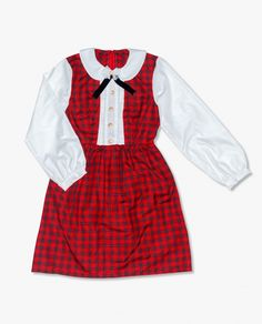 82aeeabd0ab9 cute kawaii red plaid dress with white long sleeve and peter pan collar