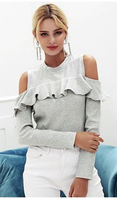 Top up your glam look with this Long Sleeve Sweater Top this season. This design is perfect for your autumn collection outfits. Trimmed with ruffles across the arms and shoulder crop type and finished with long sleeves. Cold Shoulder Sweater, Long Sleeve Sweater, Grey Sweater, Cute Sweaters, Sweaters For Women, Boho Sweaters, Classy Street Style, Ruffles, Ruffle Top