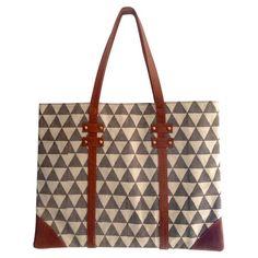 1d114da25c Pyramid Block Portfolio Tote Leather Handle