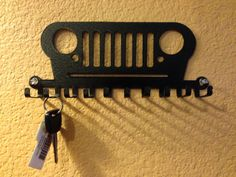 Jeep Key Holder...These also work great for lanyards, medals, ties, rings and jewelry! CNC plasma cut steel. Powder coated wrinkle black. Will hold ten