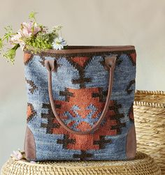 Elsa Woven Tote - Each bag is crafted by hand, drawing inspiration from the wide open spaces of the West, with a rustic, woven texture and simple silhouette.