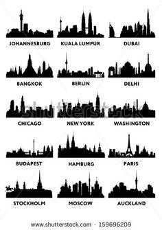Silhouette of the city skyline