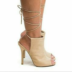Peep Toe Lace-up Ankle Bootie. 8 1/2. Suede Peep Toe  Ankle Bootie Open back Lace-up Light tan Suede 8 1/2 Boutique Shoes Ankle Boots & Booties