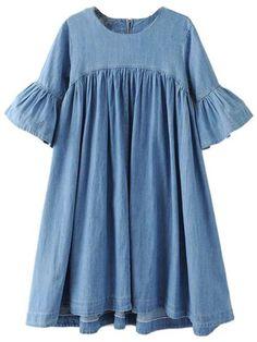 'Kynthia' Chambray Flare Sleeve Peplum Dress