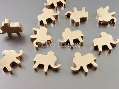 Lucky elephant beads charms, rose gold beads, rose gold charms, rose gold plated brass / jewelry making supplies 1919-RG