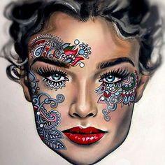 """This face chart by is just breath taking. Take a moment to check out this Russian makeup artists page for more of the same. Make Up Looks, Beauty Makeup, Eye Makeup, Drugstore Beauty, Paper Makeup, Mac Face Charts, Makeup Face Charts, Bridal Makeup Looks, Wedding Makeup"