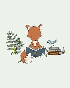 Woodland Nursery Art -- Get Lost in a Book -- Fox Reads A Book -- Fox Art -- Woodland Animal Art, Children Art, Kids Wall Art