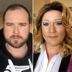 Before and after Drag Beyonce Makeup