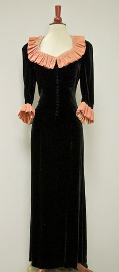 ~1930s Silk Velvet Straight Fishtail Tiny Buttons down Bodice, Peach Ruffle Neckline/Cuffs Dress~