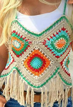 Surprising and Cool Crochet Top Pattern Design Ideas - Page 13 of 49 - Beauty Crochet Patterns! Crochet T Shirts, Crochet Tunic, Crochet Bikini, Crochet Woman, Love Crochet, Crochet Top, Granny Square Crochet Pattern, Crochet Granny, Crochet Patterns