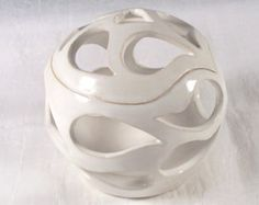 Hand Carved Ceramic Candle Holder with Heart Hand Carved Wheel Thrown Stoneware Pottery