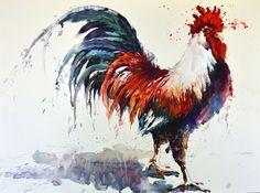 Rooster painting by watercolor artist Bev Jozwiak-art