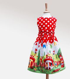 Gnomeville print party dress.   Cheeky  fantasy print featuring gnomes at play…