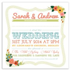 Personalised handmade wedding invitations Vintage Circus/Carnival Floral Rustic Summer Fair Shabby Chic Colourful
