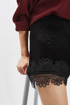 A day or night piece, these velvet shorts with lace applique are your go-to for a look that's so now. In a high waist fit, they are perfect styled with a chunky knit for a casual look, or dressed up with ruffled blouse. #Topshop