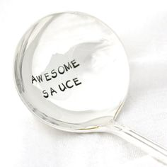 Awesome Sauce gravy ladle, hand stamped serving utensil for table decor. Vintage silver sauce server for a unique hostess gift