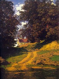 """The Old Country School House"" by Maxfield Parrish, 1937. Oil on canvas painting."