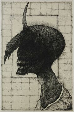 Toshihiko Ikeda Old Man-Q - The Unicorn-  Medium: Etching  Edition : AP  Size: 7 1/4 x 4 1/2 inches