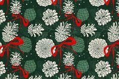 Margaret Berg Art: Green Christmas Pine Cones Gift Wrap