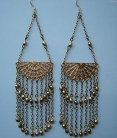 Edie Sedgwick Filigree Earrings  Antique Gold and by SenzaFine