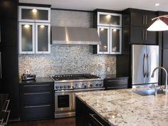 I like dark cabinets with light granite