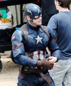 Chris Evans on the set of Captain America: Civil War in Atlanta on May 15th, 2015.