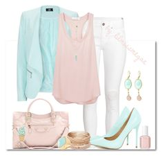 """""""#286 - Pastels"""" by lilmissmegan ❤ liked on Polyvore featuring H&M, Anastasia, AX Paris, Bruce II, Balenciaga, Essie, Red Camel, Orelia, Rivka Friedman and Kate Spade"""