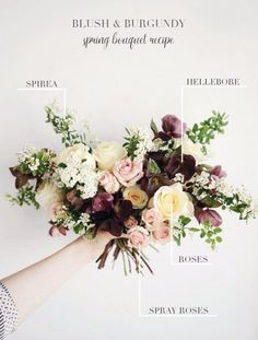 Seasonal Bridal Bouquet Recipes | Spring Bouquet | Burgundy Bridal Bouquet | Burgundy Flowers