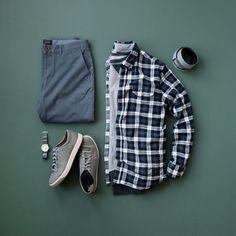 Shirt: Jachs NY // Sweatshirt: Jachs NY (similar) // Chinos: Jachs NY // Sneakers: Johnston & Murphy // Watch: Vaer // Belt: Anson Belt // Socks: Lucky Brand Mens Casual Dress Outfits, Smart Casual Outfit, Men Dress, Men Casual, Fashion Outfits, Men's Fashion, Casual Wear, Simple Shirts, Casual Shirts