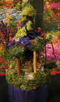 Fairy House Violet Miniature House by WoodlandFairyVillage on Etsy, $34.99